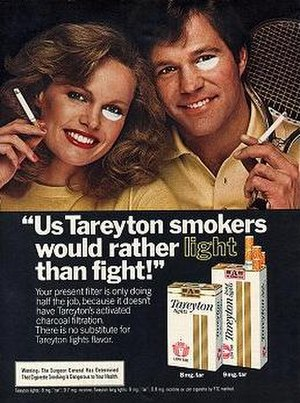 Us Tareyton smokers would rather fight than switch! - A Tareyton magazine advertisement from 1980. The new Light version showed the models sporting white makeup instead.