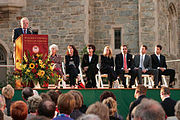 Ted Kennedy speaks at the dedication ceremonies of the Connell School of Nursing at Boston College