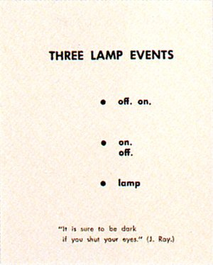 Water Yam (artist's book) - Three Lamp Event, part of Lantern Extract, a mail art project within the Yam Festival, 1962,