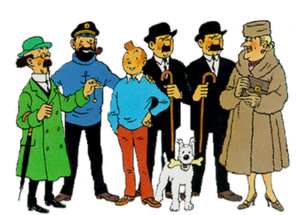 The Adventures of Tintin - The main characters of The Adventures of Tintin. From left to right: Professor Calculus, Captain Haddock, Tintin, Thompson, Snowy, Thomson, and Bianca Castafiore.