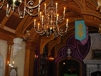 Mr. Toad's Wild Ride - The interior of Toad Hall, seen from the queue shortly before boarding.