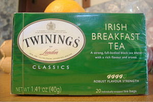 A box of Irish Breakfast tea sold by Twinings