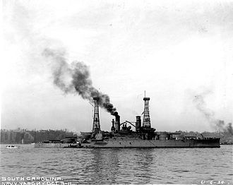 USS South Carolina (BB-26) - South Carolina in the New York Navy Yard on 3 October 1911