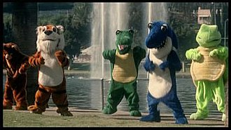 """We Know Something You Don't Know - The five furry-costumed B-boys in the """"We Know Something You Don't Know"""" video"""