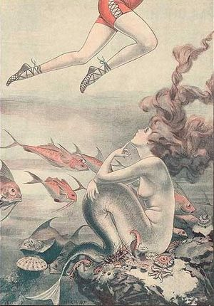 "Chéri Hérouard - 1921 cartoon of a mermaid by ""d'Herouard"""