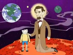 A cartoon boy stands on Mars, with Earth visible in the background. His is being touched on the shoulder by Abraham Lincoln, who is much bigger than him and dressed in a suit.