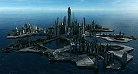 The Ancient City Ship Atlantis, floating in an...