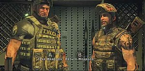 Army of Two: The 40th Day - An example of how a Morality cutscene is in play. Here, Rios and Salem are confronted by a security guard (unseen) before they take out assault rifles from a rifle rack. You can see the buttons on the screen which will denote the fate of the scene and the decision players make.
