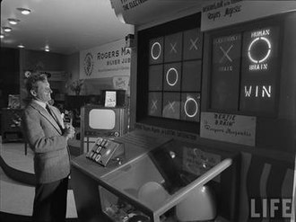 Bertie the Brain - Comedian Danny Kaye photographed having just won against the machine