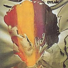 A painting of the profile of Bob Dylan's face with red, yellow, purple, and black stripes