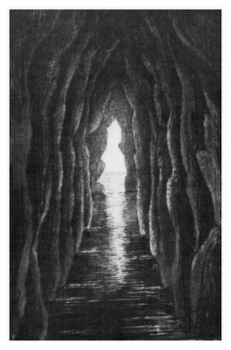Rathlin Island massacre - Bruce's cave, one of Rathlin Island's caves, etching by Mrs. Catherine Gage (1851)