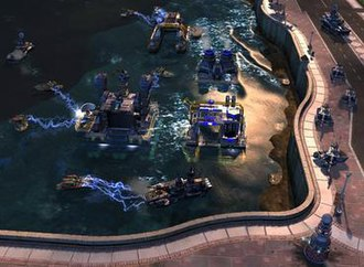 Command & Conquer: Red Alert 3 - Almost all structures can now be built offshore, out of reach of some enemy units – and in reach of others.