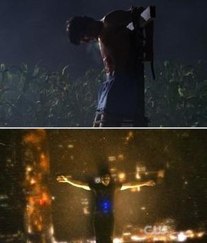 Clark Kent (Smallville) - Above: The imagery used in the pilot episode, where Clark is strung to a scarecrow pole, drew early comparisons to Jesus Christ and his crucifixion. Below: This scene in the season nine finale brought criticism as nine years of Christ-like comparisons started to become less subtle and more overt.
