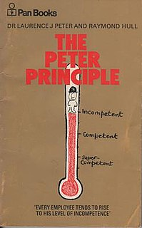 Peter principle Concept that people in a hierarchy are promoted until no longer competent