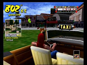 The player picks up a passenger in Crazy Taxi....