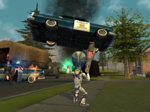 Destroy All Humans! (video game) - Crypto using psychokinesis on a police vehicle
