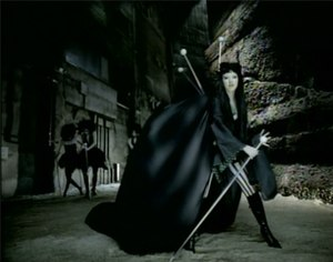Fighter (song) - Aguilera in her black velvet kimono, followed by Gothic ballerinas.