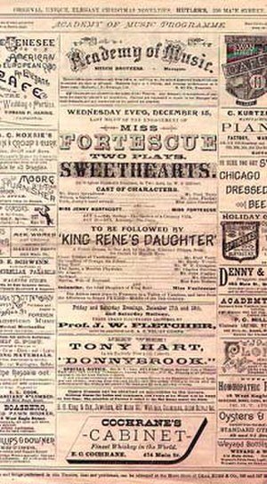 May Fortescue - December 1886 programme for Gilbert's Sweethearts at the Academy of Music, Buffalo
