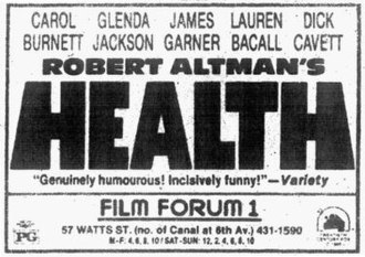 Health (film) - An advertisement for the film in The New York Times, April 1982