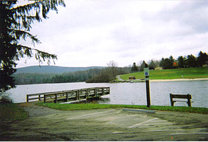 Hills Creek State Park - A view of Hills Creek Lake from the main parking area near the park office.