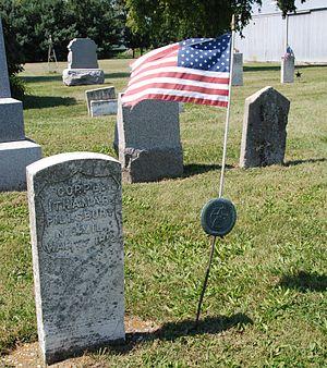 Andover, Illinois - Ithamar Pillsbury's gravestone, Andover Presbyterian Cemetery