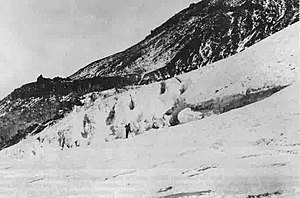 Mount Shasta - Clarence King exploring the Whitney Glacier in 1870.  This was the first glacier in the continental United States discovered and named. It was named for Josiah Whitney, head of the California Geological Survey.