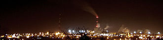International Paper - Factory in Kwidzyn, Poland, at night