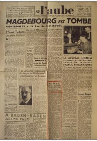 L'Aube (newspaper) - Front page on 29 April 1945