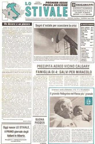 Lo Stivale (newspaper) - Image: Lo Stivale Front Page April 19 1984