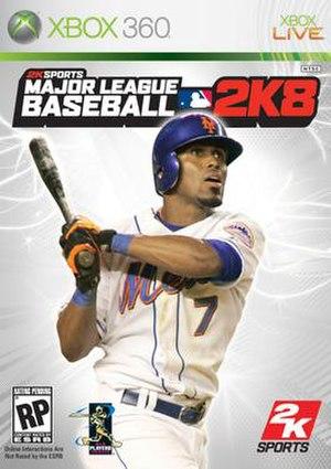 Major League Baseball 2K8 - The cover of MLB 2K8 for Xbox 360.