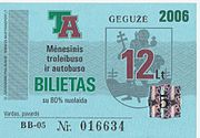 A sample Vilnius Transport nominal monthly ticket