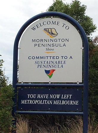 Shire of Mornington Peninsula - Sign marking entrance to the Shire, near Baxter.