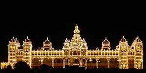 Origin of the Kingdom of Mysore - Mysore palace lit up at night