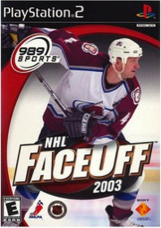 NHL FaceOff 2003 - The cover of NHL FaceOff 2003, featuring then-Colorado Avalanche defenceman Rob Blake.