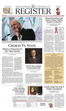 National Catholic Register front page, February 26 - March 10, 2012 issue.png