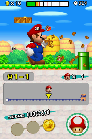 New Super Mario Bros. - Mario rampages through a level after using a Mega Mushroom power-up, which grows him to an enormous size for a short period of time. Mario and surrounding objects are seen with a 2.5D effect.
