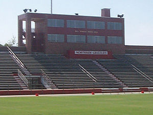 Northside High School (Fort Smith, Arkansas) -  Football field picture looking up at the press box.