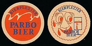 Surinaamse Brouwerij - Parbo Bier beermat, circa 1975