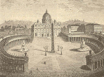 St. Peter's Square before Pope Pius IX added statues of Saints Peter and Paul Pio9sanpietro.jpg