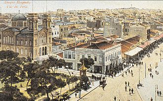 Piraeus - The city of Piraeus and the church of Saint Spyridon; postcard of 1887.