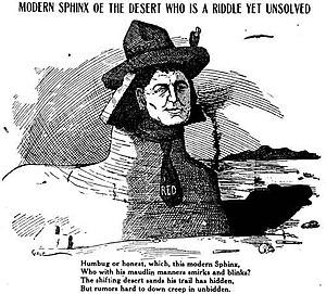 """Walter E. Scott - Newspaper cartoon of """"Death Valley Scotty"""", around 1905"""