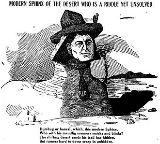 "Walter E. Scott - Newspaper cartoon of ""Death Valley Scotty"", around 1905"
