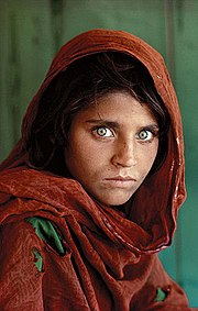 Sharbat Gula as seen in the photo used for the 1985 issue of National Geographic