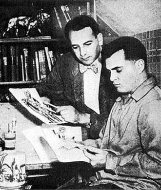 Boys' Ranch - Joe Simon and Jack Kirby in their studio at work on the creation of the Boys' Ranch feature, 1950.