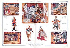 Chout - Set and costume designs by Mikhail Larionov for the 1921 premiere at the Théâtre de la Gaîté-Lyrique in Paris