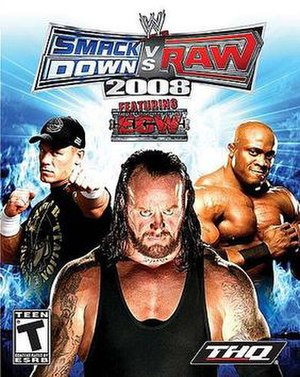 WWE SmackDown vs. Raw 2008 - NTSC cover art featuring John Cena, The Undertaker and Bobby Lashley