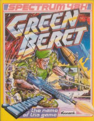 Rush'n Attack - Front cover of the ZX Spectrum version of Green Beret, artwork by Bob Wakelin.