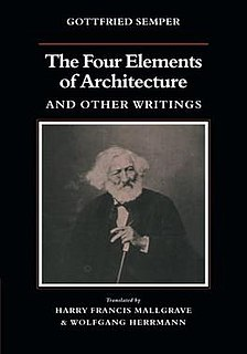 <i>The Four Elements of Architecture</i> Book about the origin of architecture by Gottfried Semper