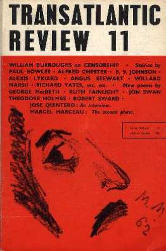 Transatlantic Review (1959–77) - Joseph McCrindle's Transatlantic Review  ran for 60 issues between 1959 and 1977.