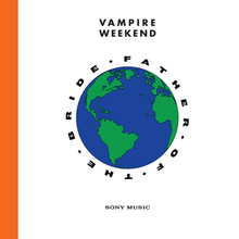 "A hand-drawn globe against a white background, with an orange border on the left-hand side. The words ""FATHER+OF+THE+BRIDE"" encircle the globe, with ""Vampire Weekend"" and ""Sony Music"" printed above and below the globe respectively."